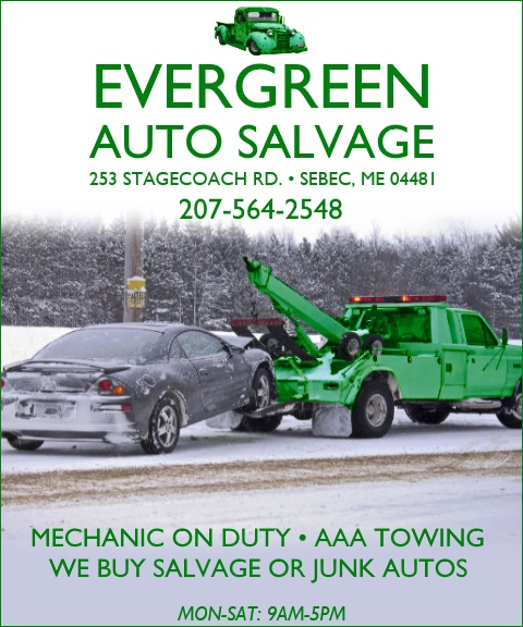 evergreen auto savage, sebec ma