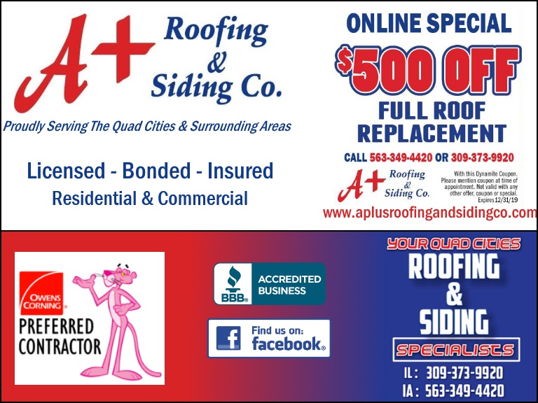 a+ roofing, milan il