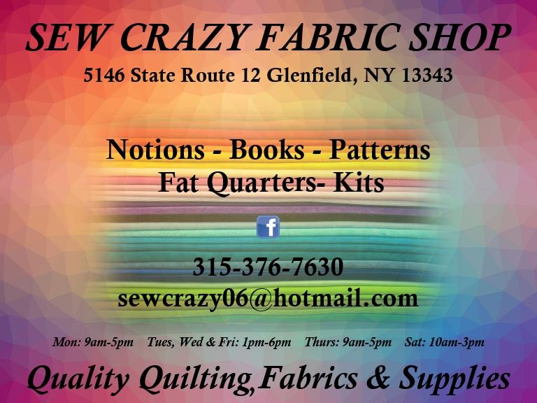 SEW CRAZY FABRIC SHOP, GLENFELD NY