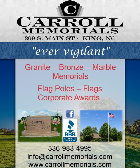 carroll memorials, forsyth county nc