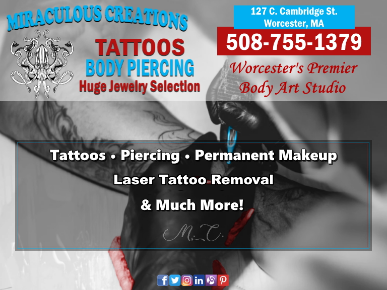 tattoos, piecings, worcester county, ma