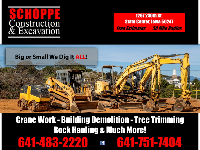 excavating, construction, marshall county, ia