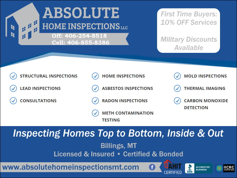 absolute home inspections, yellowstone county, mt