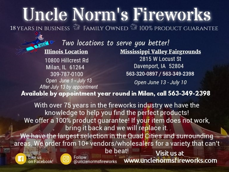 uncle norms fireworks, scott county, ia