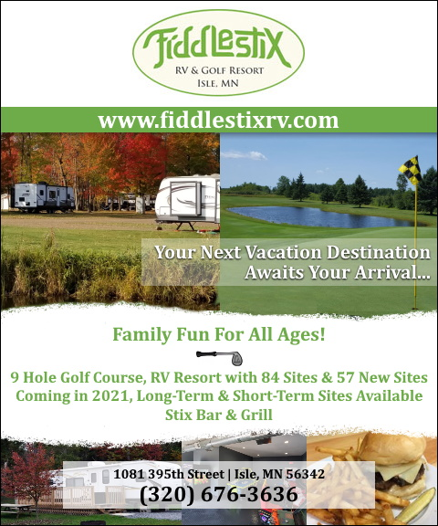 fiddlestix rv and golf resort, mille lacs county, mn