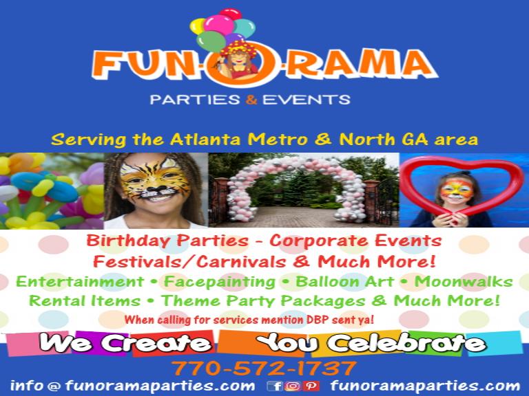 funorama parties, gwinnett county, ga