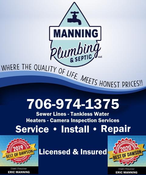 manning plumbing and septic, dawson county, ga