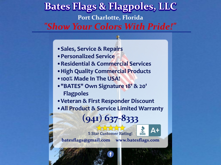 bates flags asnd flagpoles, manatee county, fl