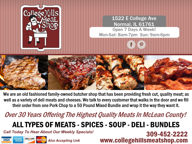 college hills meat shop, mclean county, il
