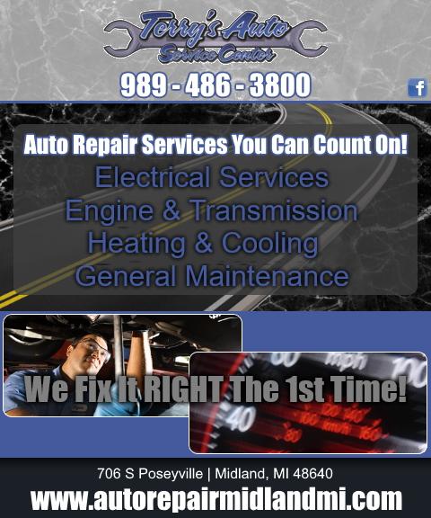 terrys auto service center, midland county, mi