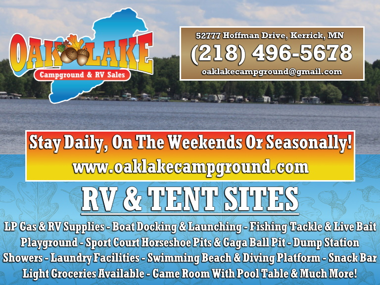 oak lake campground, pine county, mn