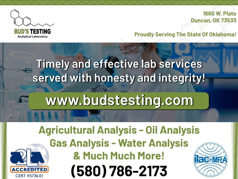 buds testing analytical laboratory, pontotoc county, ok