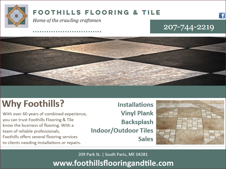 foothills flooring and tile, oxford county, me