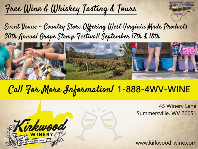 kirkwood winery & isaiah morgan distillery, nicholas county, wv