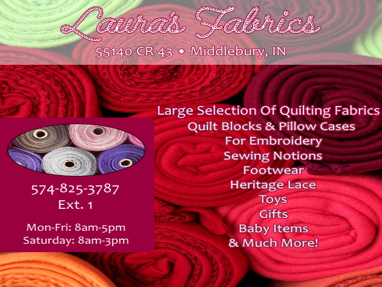 lauras fabrics, elkhart county, in