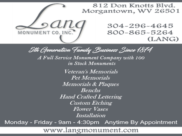 lang monument company, marion county, wv
