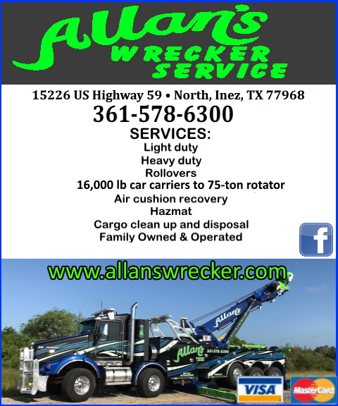 allans wrecker service, victoria county, tx