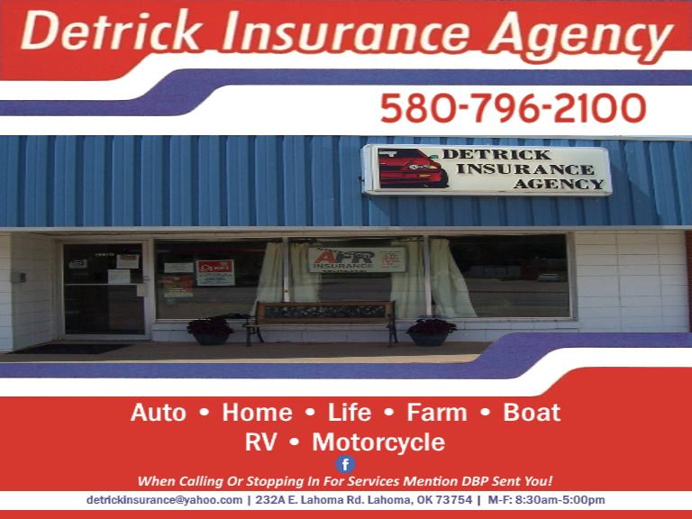 detrick insurance agency, garfield county, ok